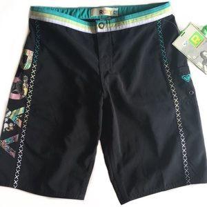 {Roxy} Black Multicolor Board Shorts Sz 1